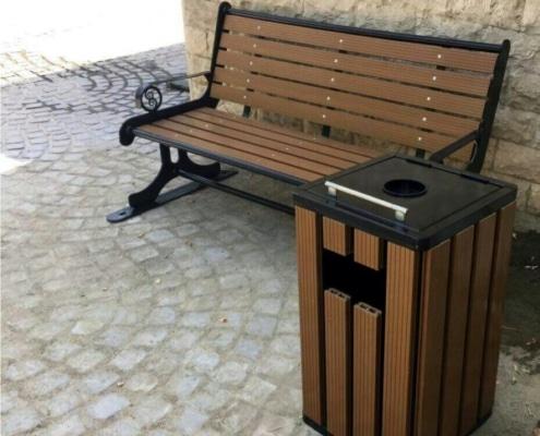 ست صندلی پارکی با سطل آشغال پارکی